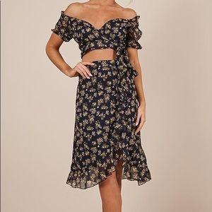 Floral Crop top skirt set